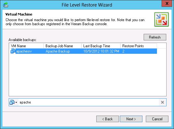 Рис. 7. Multi-OS File-Level Recovery (Универсальное восстановление файлов): выбор ВМ