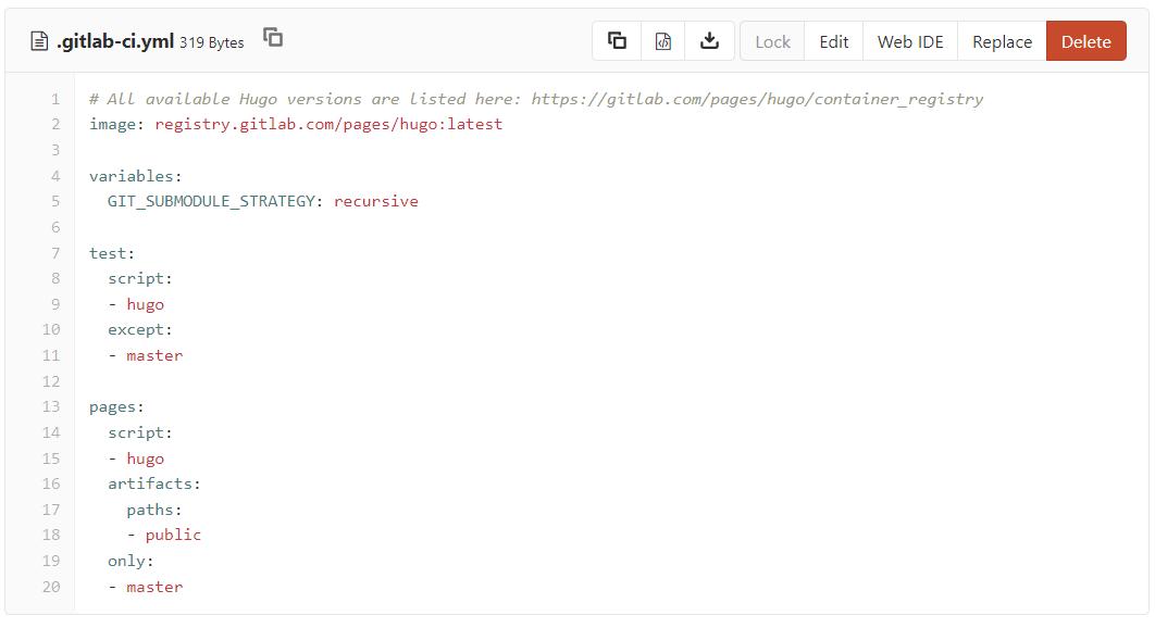 Стандартный конфиг GitLab Pages для Hugo