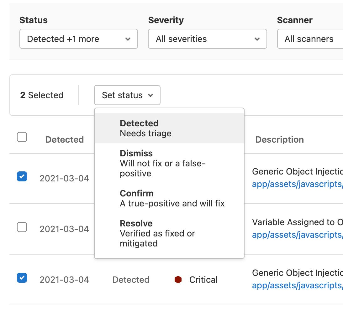 Vulnerability bulk status updates