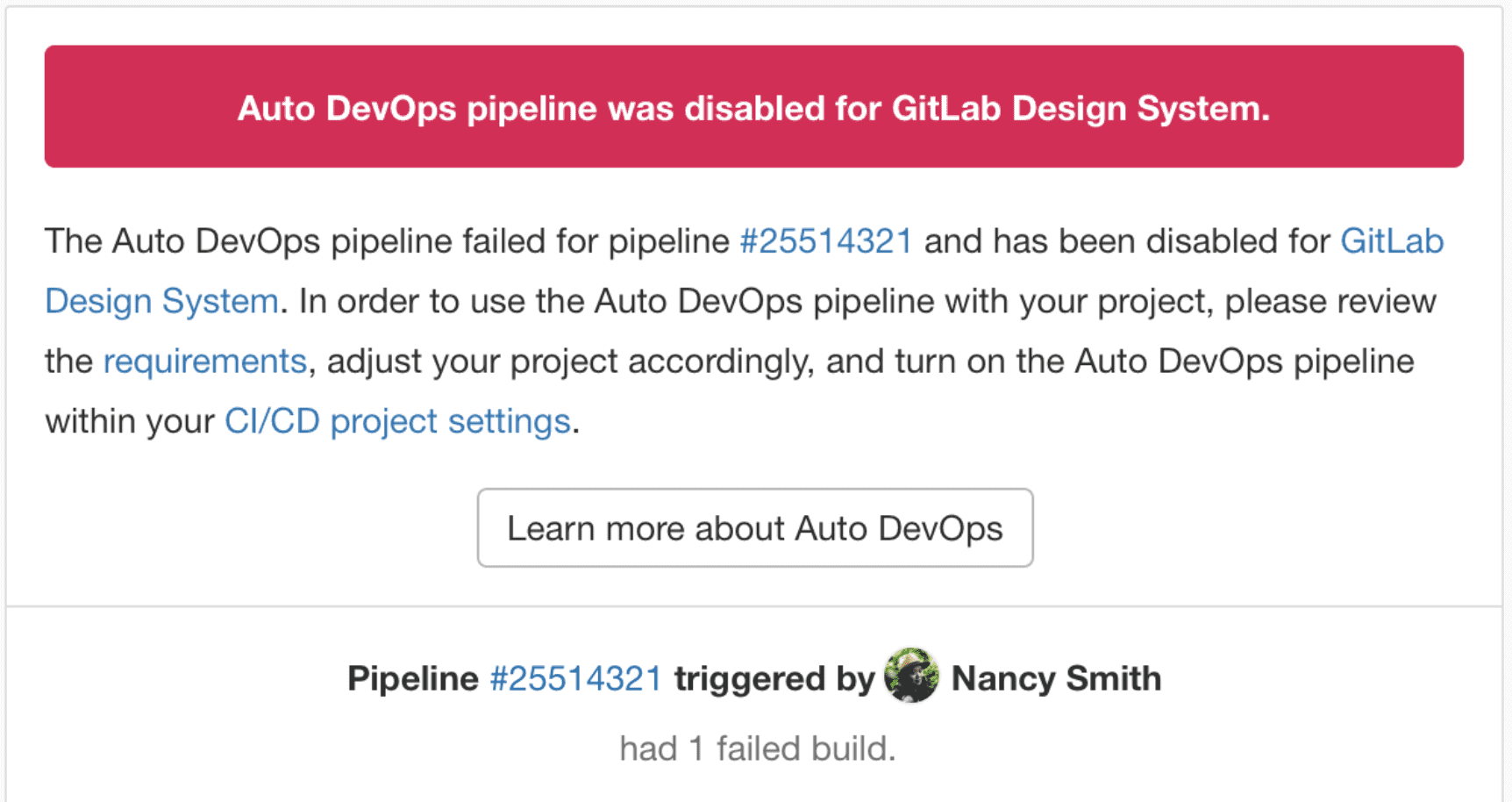 Automatically disable Auto DevOps for project upon first pipeline failure