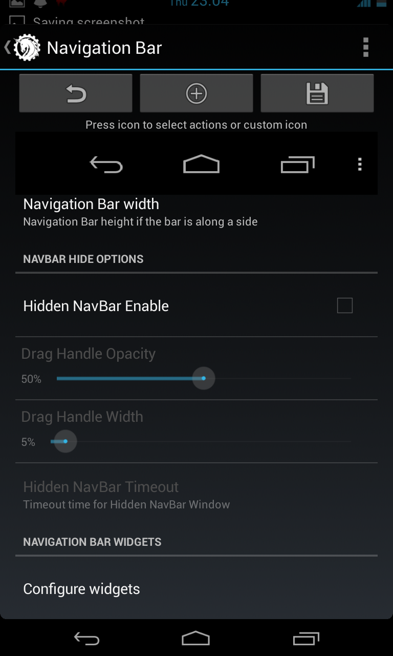 Hidden NavBar option