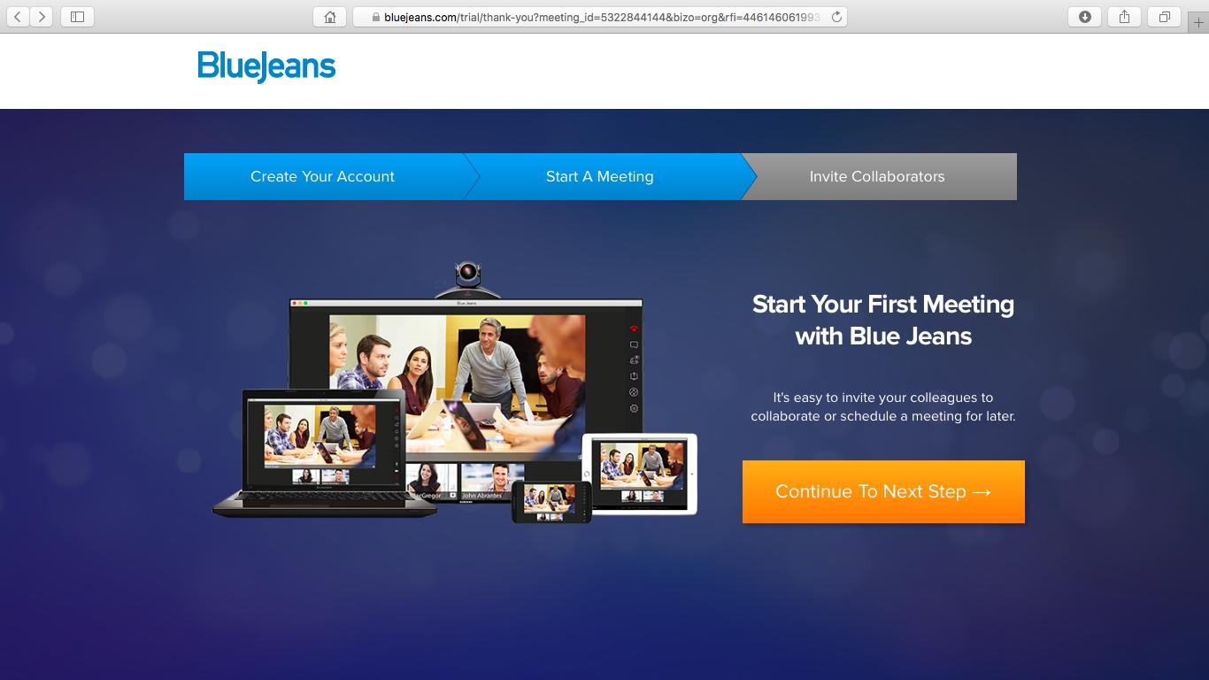 Начальная страница сервиса Blue Jeans