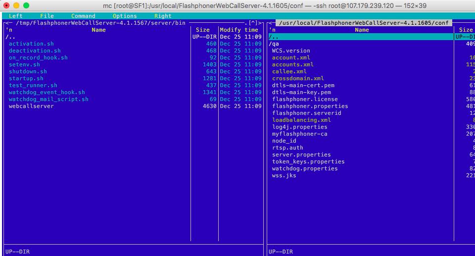Web Call Server 4 configuration file folder