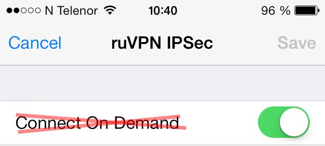 iOS 7 не поддерживает Connect On Demand в режиме Always On
