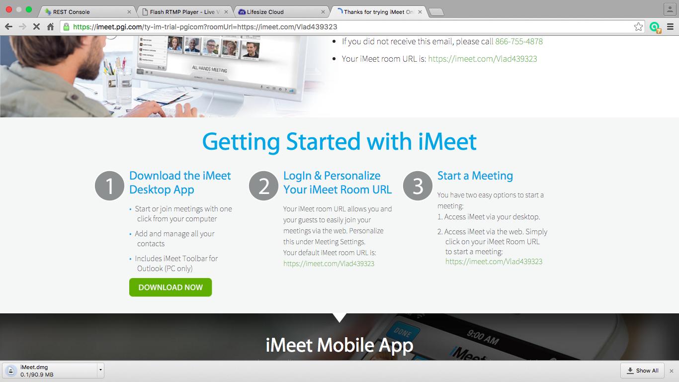 Этапы регистрации в сервисе iMeet