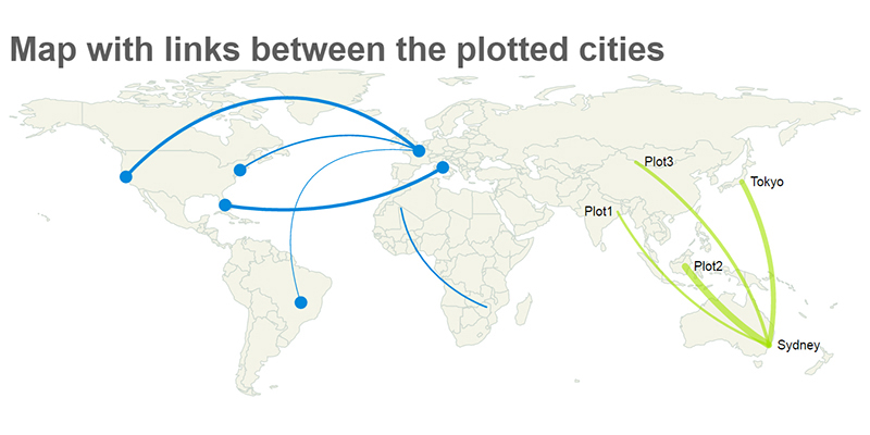 jQuery Mapael – Map with Links Between Plotted Cities