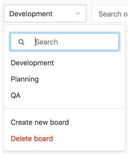 Search filter box for issue board navigation