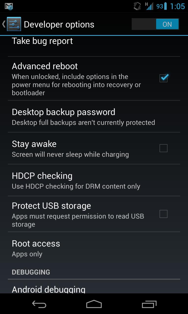 Options under the Developer Sub-menu