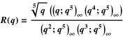 Definition of R using q-Pochhammer symbols
