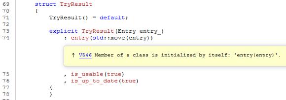 Рисунок 2 – Просмотр предупреждения в коде