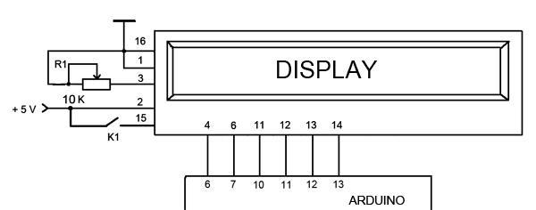 Схема подключения дисплея.