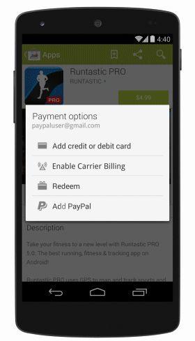 Google Play теперь поддерживает платежи через PayPal