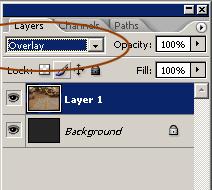 режим наложения Overlay в Photoshop