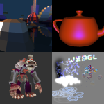 [WebGL demo screenshots]