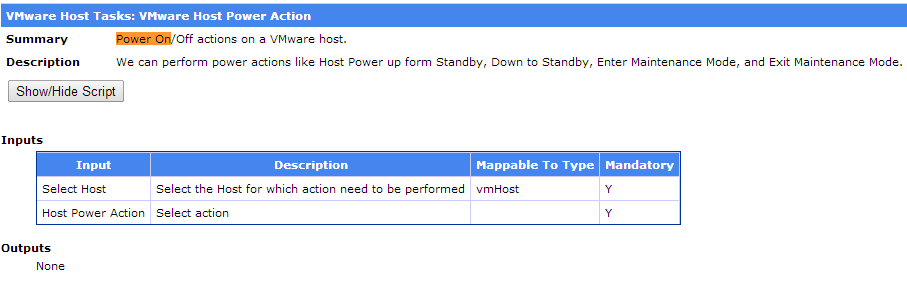 VMWare Host Power Action