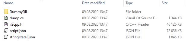 Il2CppDumper output