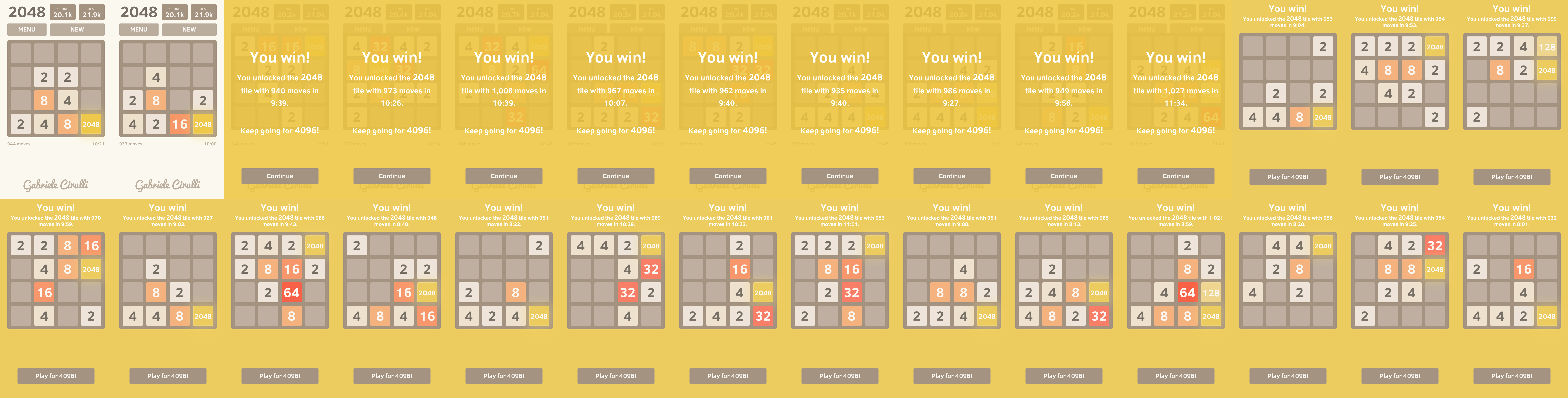 Montage of 28 winning games of 2048
