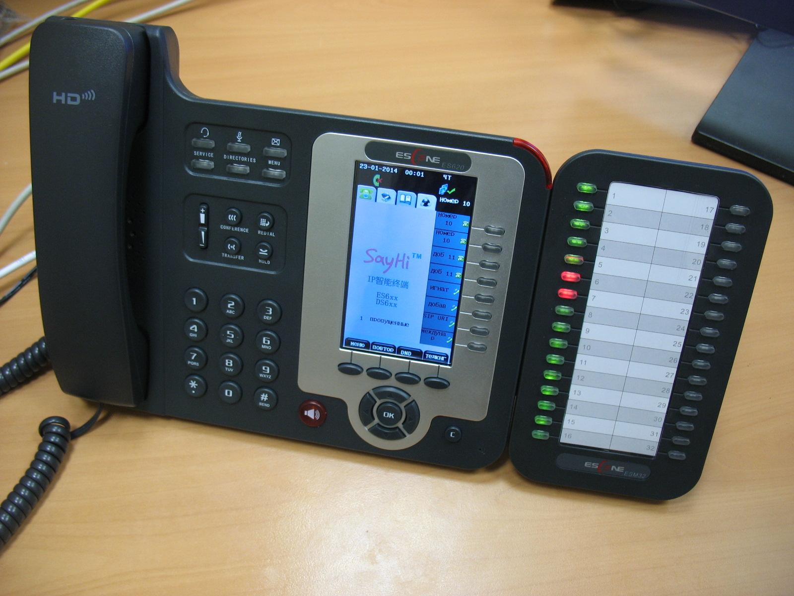 Вид телефона с панелью на столе