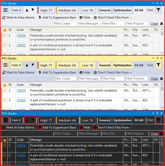 Рисунок 5 - Проблеми з відображенням іконок в темній колірній схемі Visual Studio.