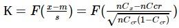 К = F((x-m)/s) = F((n*Cx-n*Ccr)/sqrt(n*Ccr*(1-Ccr))
