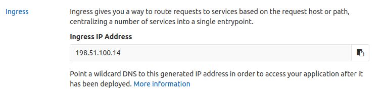 Ingress IP address on Kubernetes cluster page