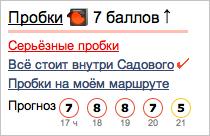Прогноз балла пробок в Яндекс.Пробках