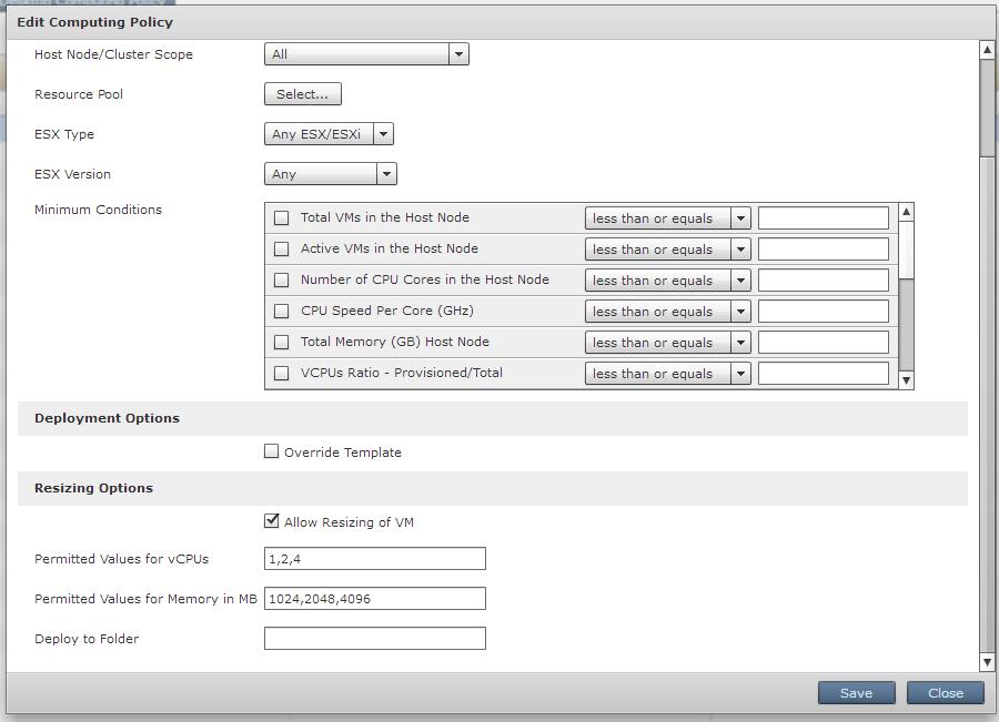 Setting Computing policy settings