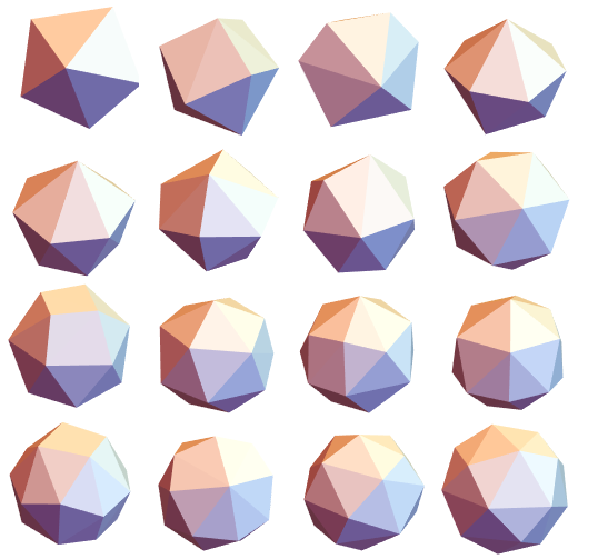 Polyhedra shown as solid objects using ConvexHullMesh