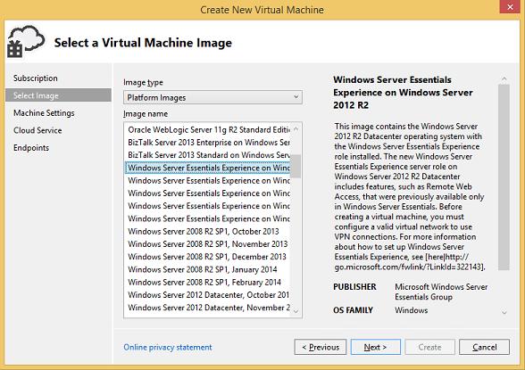 Select a virtual machine image page