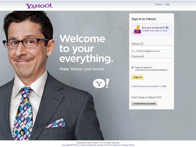 Yahoo!  login page # 1