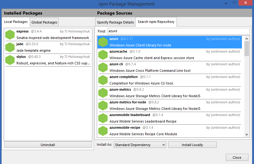 Управление пакетами в npm package management в VS
