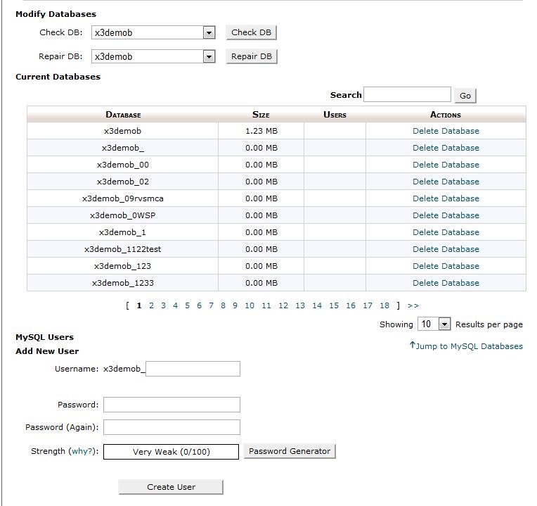 Работа с БД MySQL в cPanel