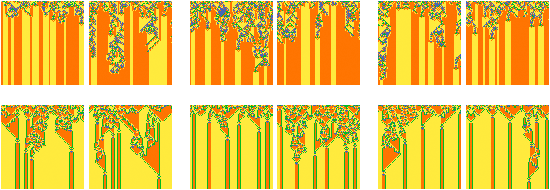"Cellular automata with different initial states but same final states. Like rain on a mountainscape, initial cells can ""fall"" in any of many different places and wind up in the same final position."