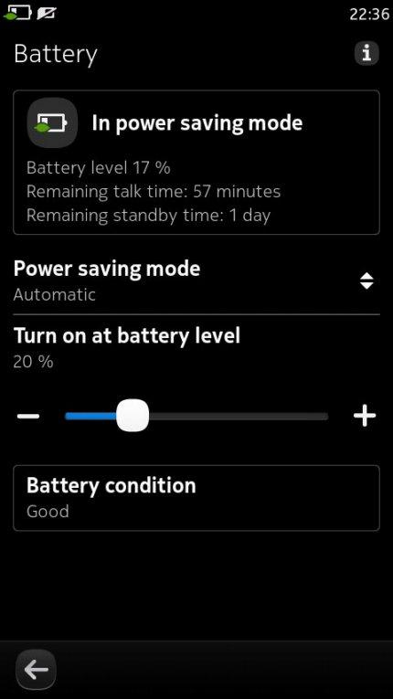 настройка батареи в Nokia N9