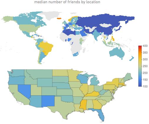 Среднее количество друзей по местоположению