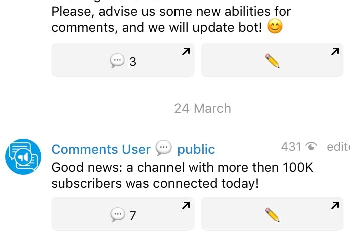 Comments in the telegram channel