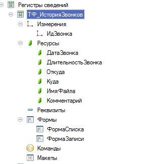 Information register TF_Call History