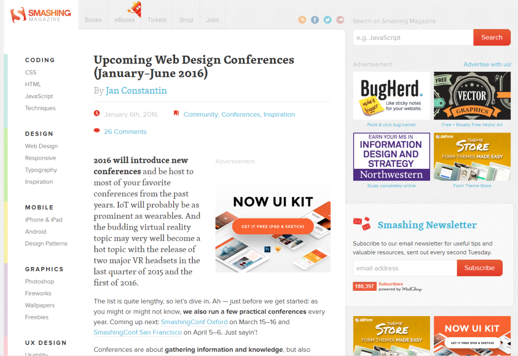Upcoming Web Design Conferences (January—June 2016)