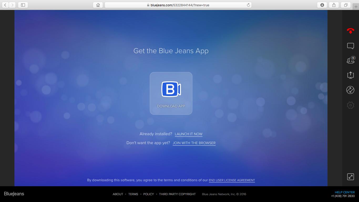 Страница загрузки ПО с сервиса Blue Jeans