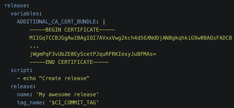 Support for custom CA certificates when using the release CLI