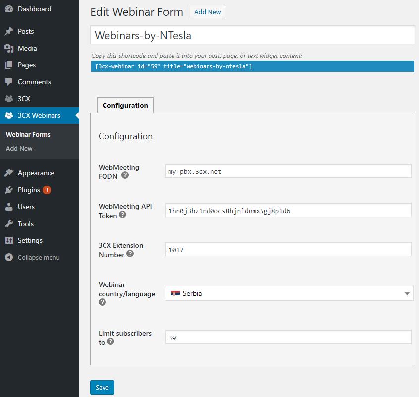 3CX webinar plugin for your WordPress site