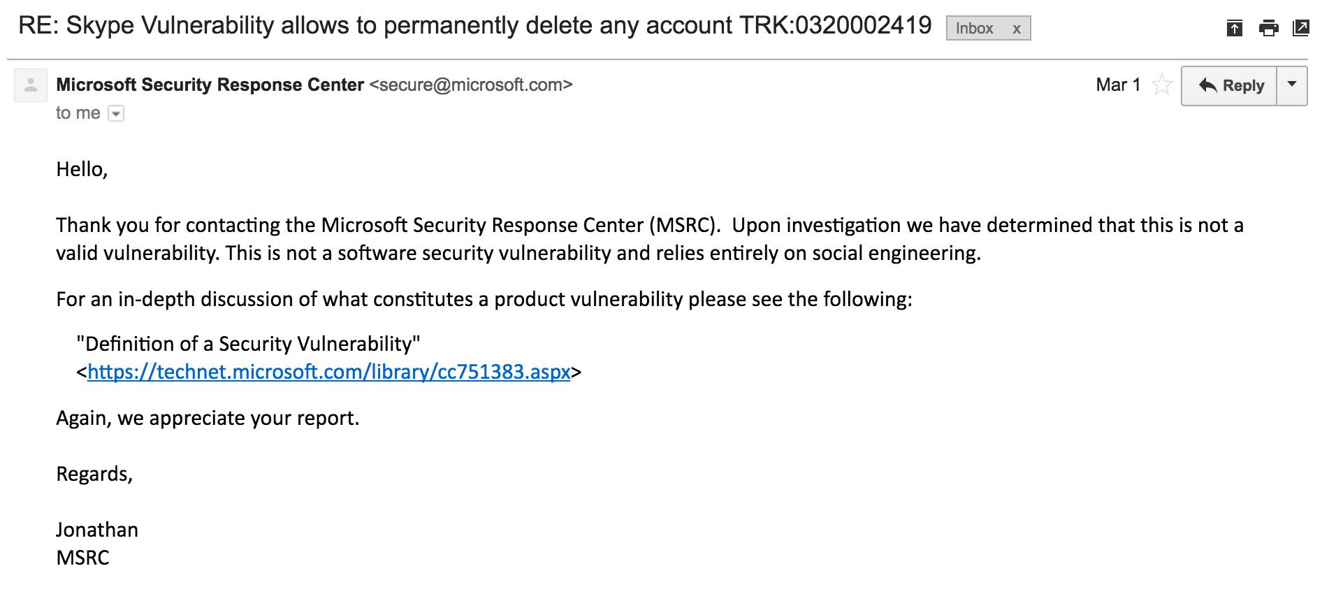 skype Microsoft Security Response Center