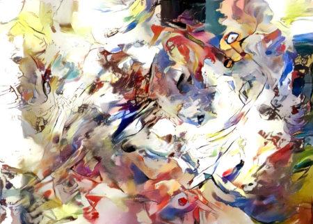 Картина, написанная искусственным интеллектом Microsoft по мотивам песни «На заре» группы «Альянс» по принципам синергии музыки и живописи, описанным великим абстракционистом Василием Кандинским.
