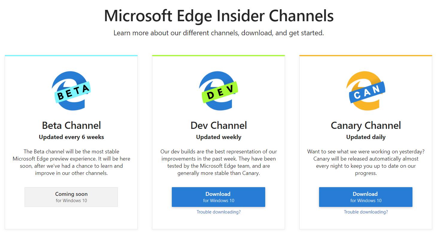 Скриншот с сайта Microsoft Edge Insider