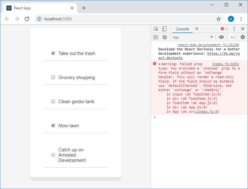 Страница приложения в браузере и предупреждение в консоли