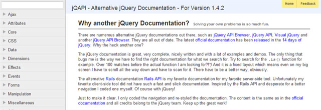 jQAPI – Alternative jQuery Documentation