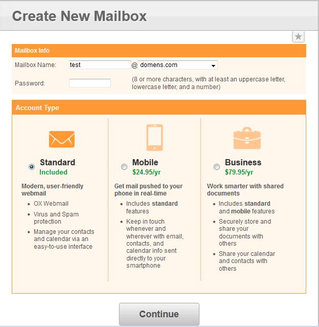 Создание нового пользователя почты в vDeck