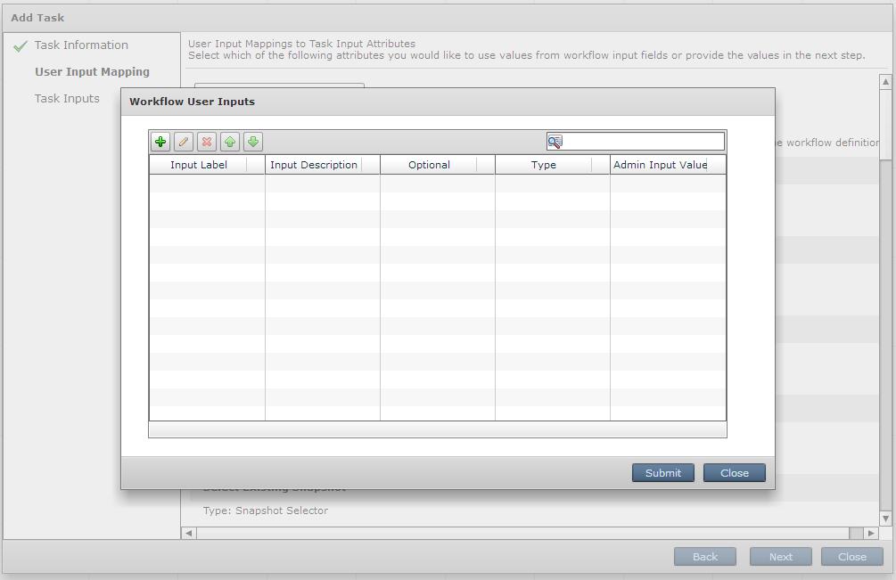 Окно определения Workflow User Inputs