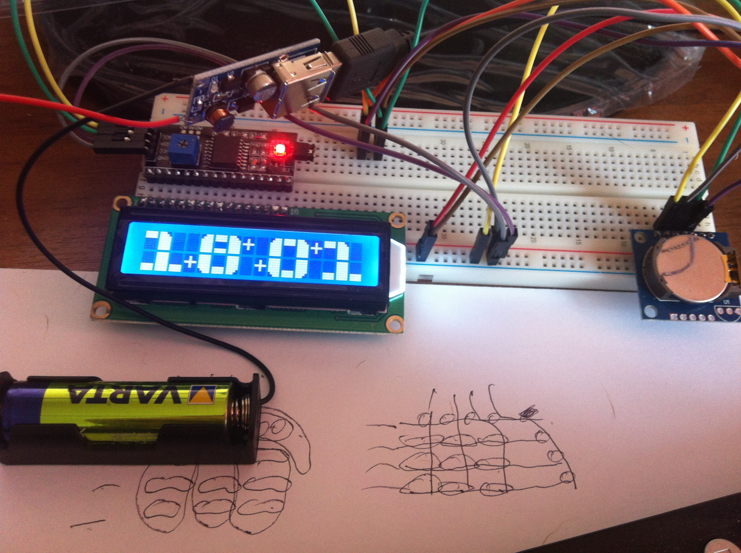 Clock With Thermometer Using Arduino, I2c 16x2 Lcd