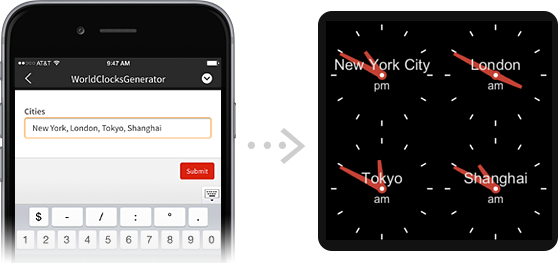 Enter a list of cities on your phone, and get an array of clocks for them